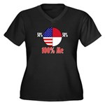 100% Me Women's Plus Size V-Neck Dark T-Shirt