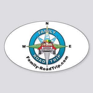 Family Road Trip Compass Rose Logo Oval Sticker