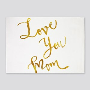 Love You Mom Gold Faux Foil Metalli 5'x7'Area Rug