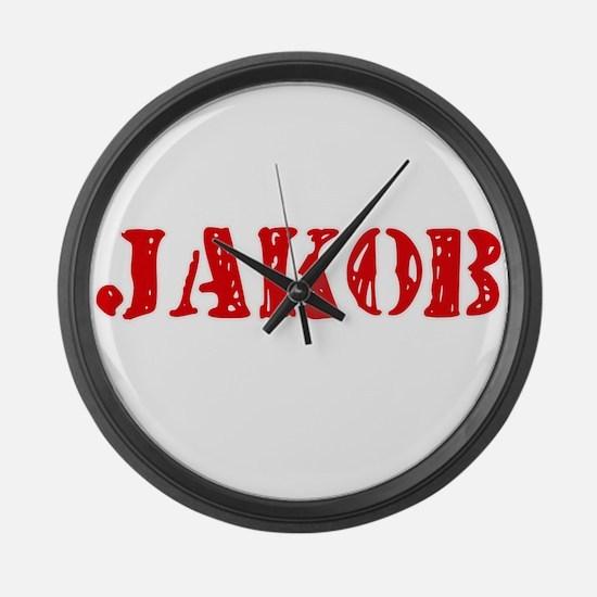 Jakob Rustic Stencil Design Large Wall Clock