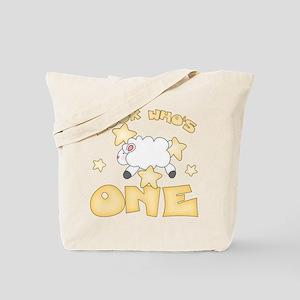 Lamb Stars First Birthday Tote Bag