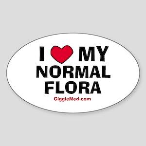 Normal Flora Love Oval Sticker