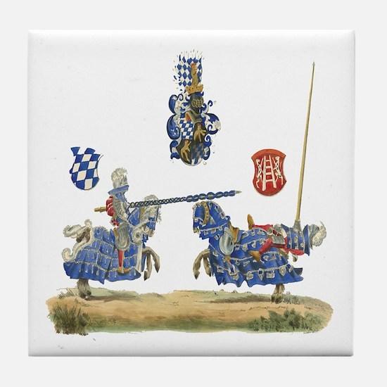 Knights Jousting Locks & Keys Battle Tile Coaster