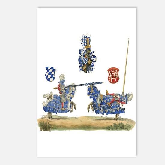Knights Jousting Locks & Keys Battle Postcards (Pa