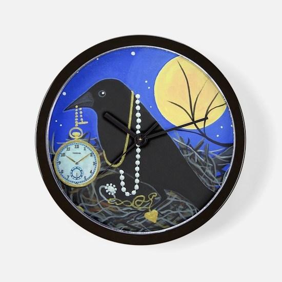 CROW Night Thief Folk Painting Wall Clock