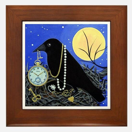 CROW Night Thief Framed Tile