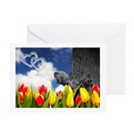 Cloud Hearts And Squirrel Greeting Cards