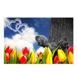 Cloud Hearts And Squirrel Postcards (package Of 8)