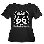 RAT 66 BLK Women's Plus Size Scoop Neck Dark T-Shi