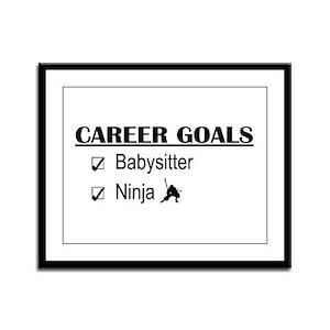 Babysitter Career Goals Framed Panel Print