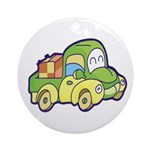 Green Pickup Truck Ornament (Round)
