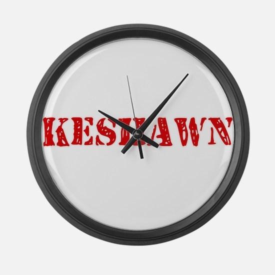 Keshawn Rustic Stencil Design Large Wall Clock