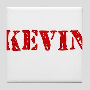 Kevin Rustic Stencil Design Tile Coaster