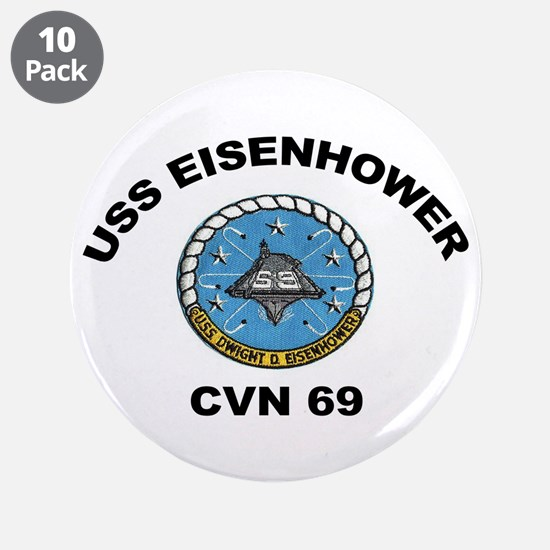"USS Eisenhower CVN-69 3.5"" Button (10 pack)"