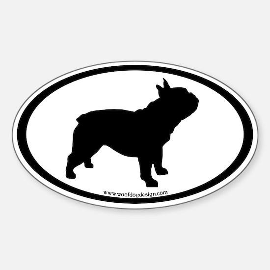 French Bulldog Oval (inner border) Sticker (Oval)