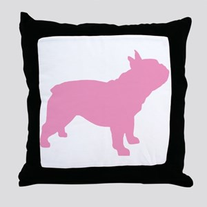 Pink French Bulldog Throw Pillow