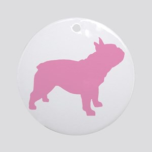 Pink French Bulldog Ornament (Round)