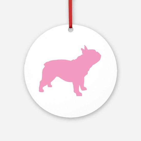Pink French Bulldog Ornament (Round)