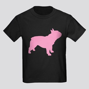 Pink French Bulldog Kids Dark T-Shirt