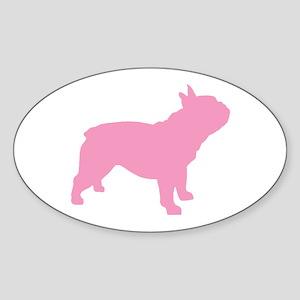 Pink French Bulldog Oval Sticker