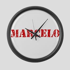 Marcelo Rustic Stencil Design Large Wall Clock