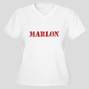 Marlon Rustic Stencil Design Plus Size T-Shirt