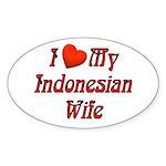 I Love My Indo Wife Oval Sticker
