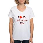 I Love My Indo Wife Women's V-Neck T-Shirt