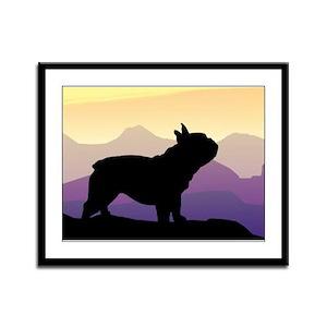 Frenchie Purple Mt. Framed Panel Print