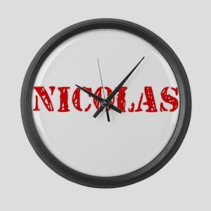 Nicolas Rustic Stencil Design Large Wall Clock