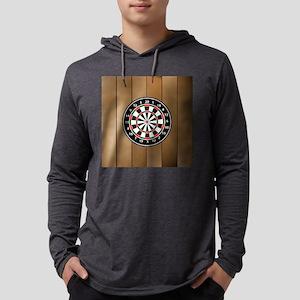 Darts Board On Wooden Backgrou Long Sleeve T-Shirt