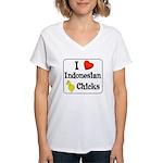 I Love Indonesian Chicks Women's V-Neck T-Shirt