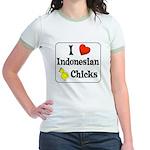 I Love Indonesian Chicks Jr. Ringer T-Shirt