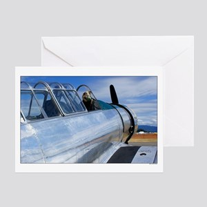 Vintage Silver Fighter Plane Greeting Card