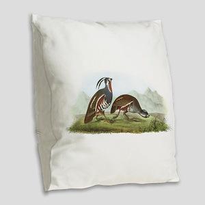 Mountain Quail Burlap Throw Pillow