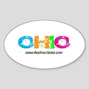 Colorful Ohio Oval Sticker