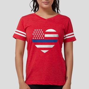 Blue Lives Matter Heart Women's Dark T-Shirt