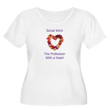 Social Work Heart Women's Plus Size Scoop Neck T-S