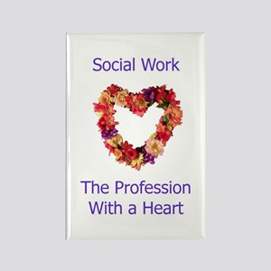 Social Work Heart Rectangle Magnet