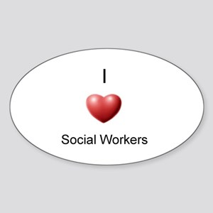 I Heart Social Workers Oval Sticker