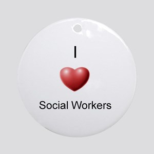 I Heart Social Workers Ornament (Round)