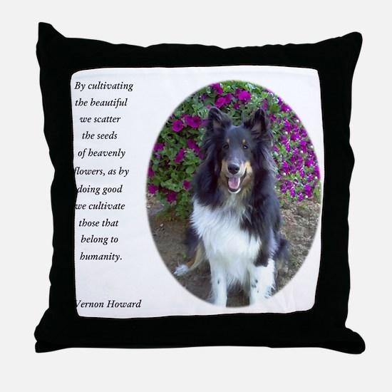 Sheltie in the flower garden Throw Pillow