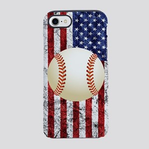 Baseball Ball On American Fl iPhone 8/7 Tough Case
