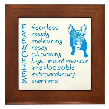 F R E N C H I E S blue Framed Tile