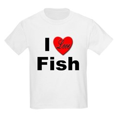 I Love Fish (Front) Kids T-Shirt