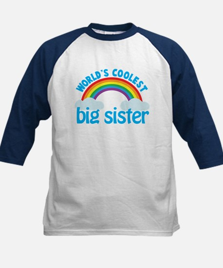 world's coolest big sister rainbow Kids Baseball J