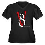 V8 R&W Women's Plus Size V-Neck Dark T-Shirt