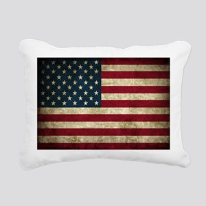 USA Flag - Grunge Rectangular Canvas Pillow