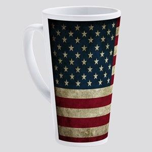 USA Flag - Grunge 17 oz Latte Mug