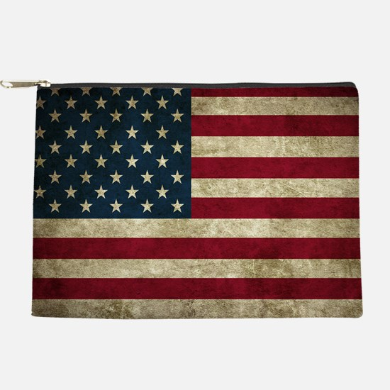 USA Flag - Grunge Makeup Bag